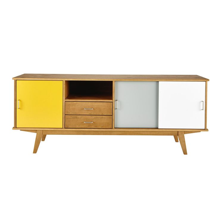 Credenza bassa vintage gialla/grigia/bianca in legno L 180 cm Paulette | Maisons du Monde