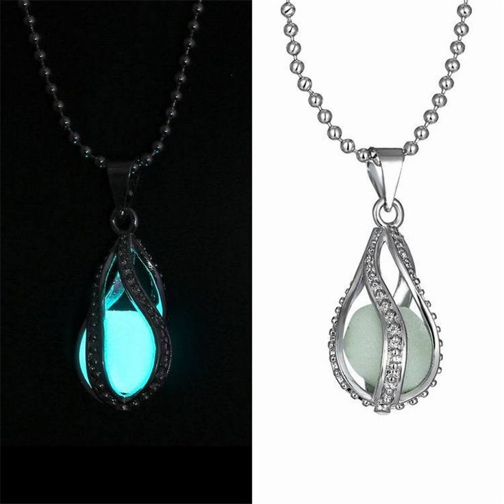 1 PCS HOT Fashion Couple The Little Mermaid's Teardrop Glow in Dark Pendant Necklace Glowing Necklace Halloween Christmas Gifts