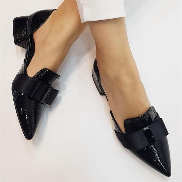 Women S Simple Bow Pointed Flat Shoes In 2020 Pointed Flats Shoes Pointed Flats Girls Shoes