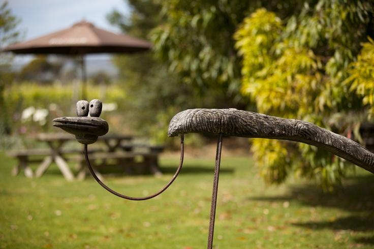 One of Robin Turner's amazing barrel sculptures featured in our Cellar Door garden...