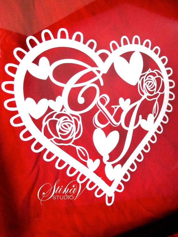 Custom Personalized Romantic Heart Monogram by StinaVStudio