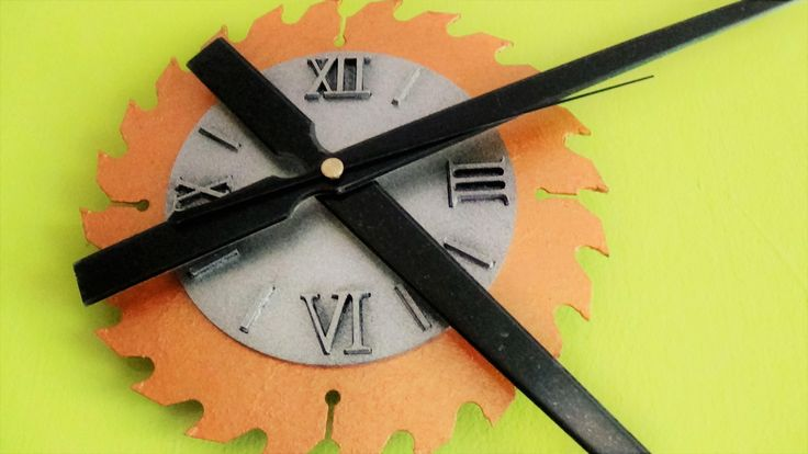 Rare, Large,Modern Saw Blade Clock,huge hands,roman numerals,woodworkers unique wall clock,gift for her,gift for him,bronze,silver colour by TheArtWorkShop37 on Etsy
