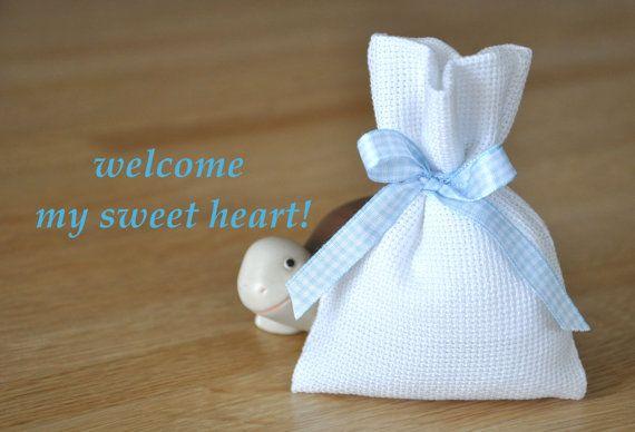 baby boy cotton christening favour bag by manufattofattoamano, €3.50