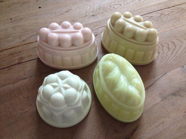 Leerdam pressed glass puddingmolds ca. 1906-1957