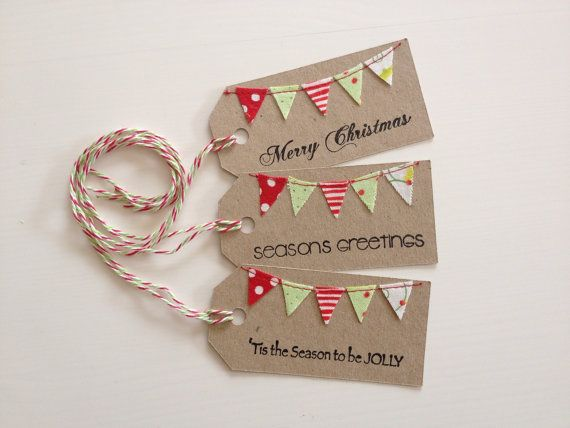 Christmas+Bunting+Tags+stamped+and+sewn++set+3+by+littleolly,+$5.00