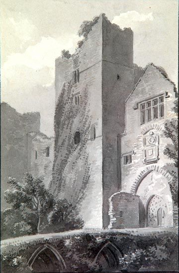 Ludlow Castle, Shropshire. Monochrome wash. Artist: Wm. Marshall Craig. Shrewsbury Museums Service (SHYMS: FA/1990/51). Image sy1157. Ludlow Castle. A ruined tower is shown centre, flanked by a lower building with mullioned window, a carving (shields?) below, and a single, pointed arched doorway, with a wooden door. This is probably a view of the entrance to the gatehouse.