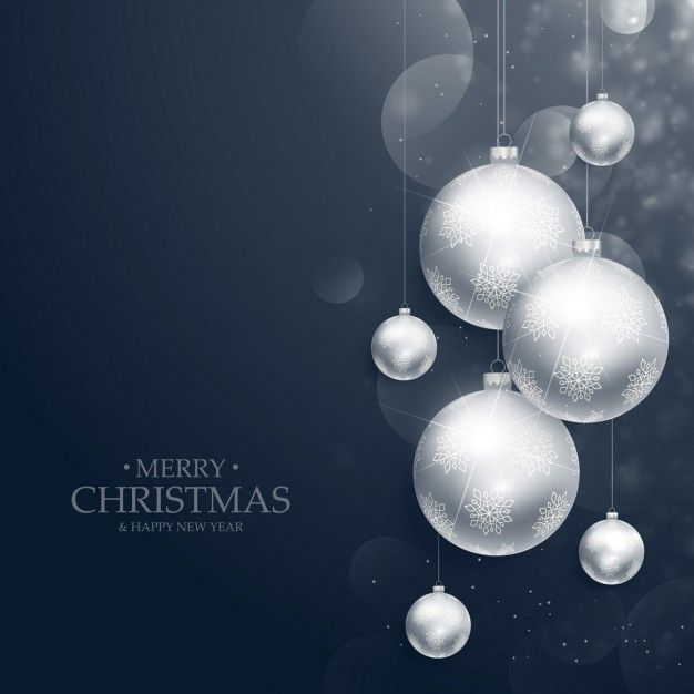 Merry christmas background of silver balls Free Vector