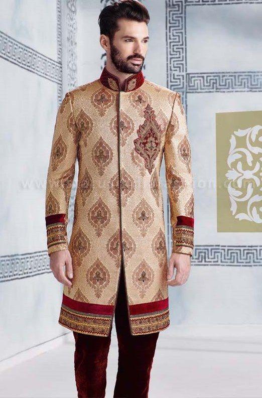 Mens wear, asian wedding wear, groom sherwani, cream indo western, designer sherwani, marriage sherwani, indian wedding wear, heavy sherwani, elegant wedding www.statusindiafashion.com