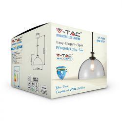 Φωτιστικό Οροφής Κρεμαστό γυαλί E27 Διάφανο VT-7300 V-TAC