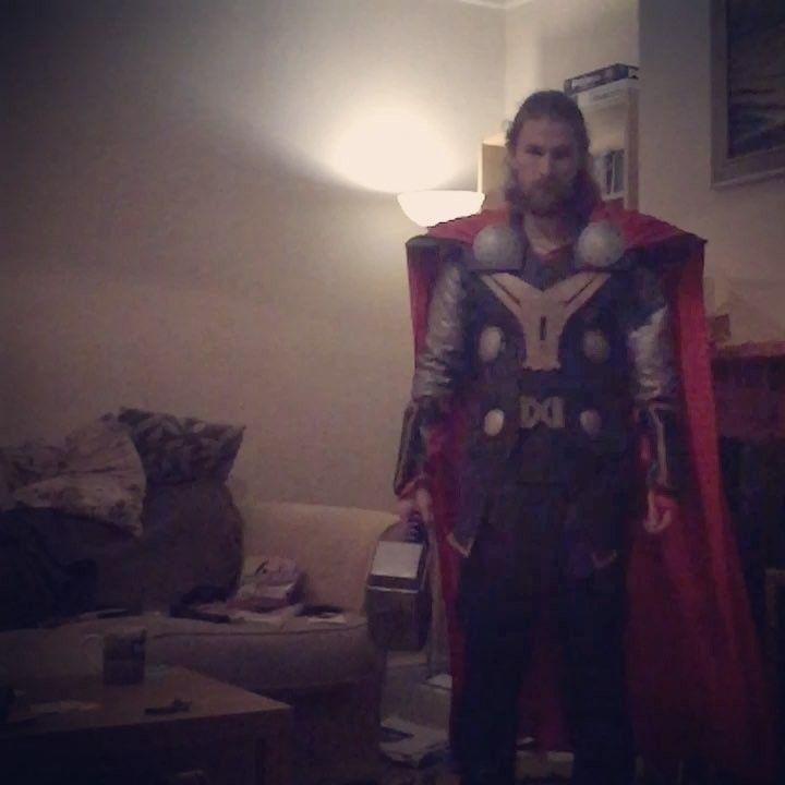 Lets Ragnarok-n-Roll! Cue the music... (and excuse the mess and the grim darkness of my Midgard abode...) . . . #thorragnarok #thor #marvel #cosplay #thorcosplay #marvelcosplay #mcu #marvelstudios #cosplayersofinstagram #guyswhocosplay #slomo #slowmotion #imovie #hammertoss #hammertime #viking #vikings #mjolnir #chrishemsworth #godofthunder