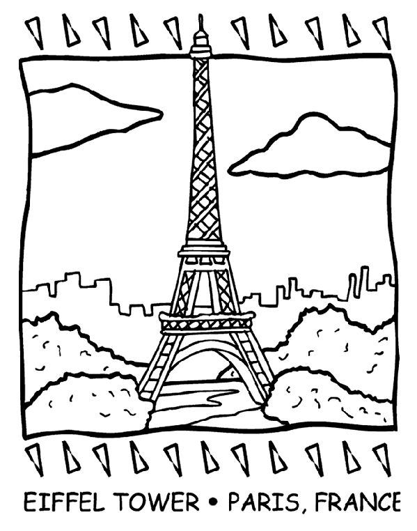 Eiffel Tower coloring page.  Color one copy in full color, another in monochromatic to show the art styles in the book of Madeline for FIAR.