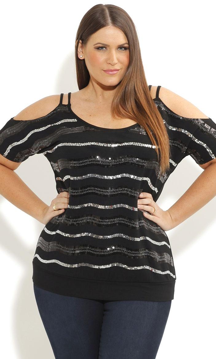 City Chic - OFF SHOULDER SOUNDWAVE TOP - Women's plus size fashion