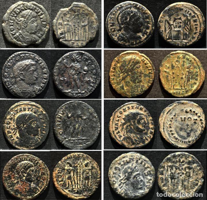 Excelente Lote 8 Monedas Fracciones Constantino Follis Y Nummus Ae Bajo Imperio Romano Imperio Romano Moneda Romana Monedas
