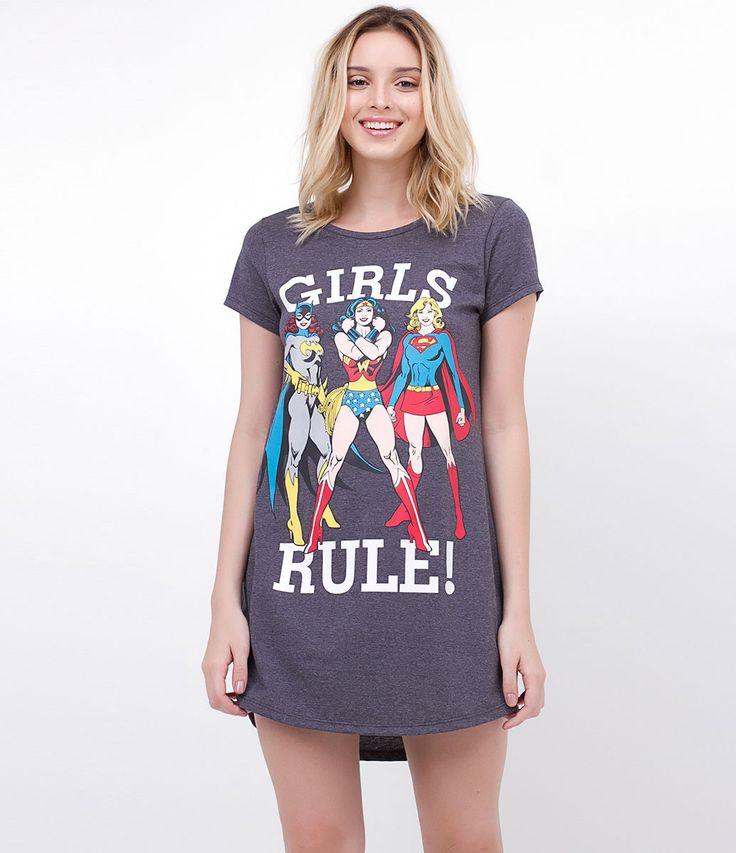 Camisola feminina    Camisetão    Manga curta    Com estampa Girls Rule Heroínas…