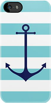 Blue anchor on navy stripes marine style by mikath