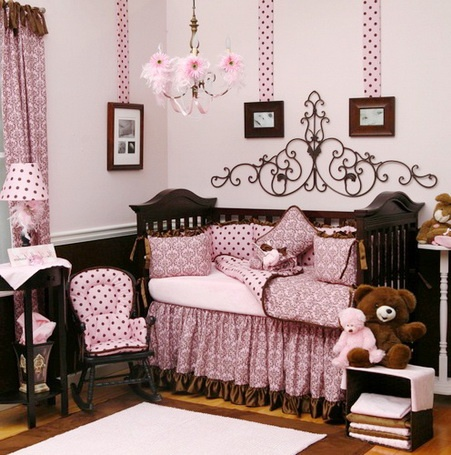 Pink and brown baby girl room