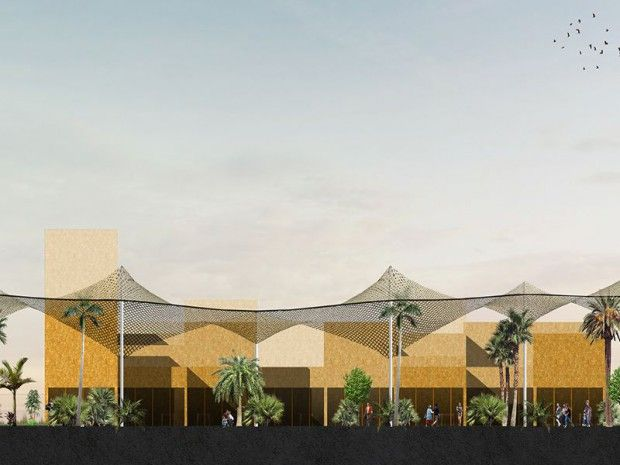 Le site du village de la COP22, la conférence des Nations-unies sur le climat, À Bab Ighli à Marrakech, conçu par l'agence d'architecture Oualalou + Choi