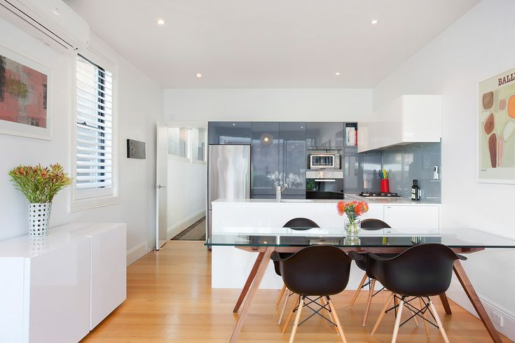 Beautifully renovated home with huge garden, glass top table, black dining chairs, 43 Styles Street Leichhardt at Pilcher Residential