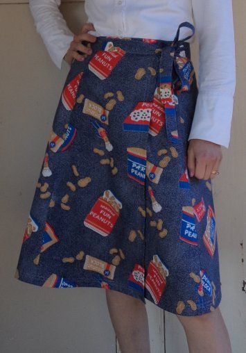 Here's a free pattern for a 6-gore wraparound skirt. It has a generous wrap and is very suitable for one-way prints, or plain fabrics with topstitched seams