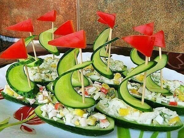 Viking party/baby shower food idea: cucumber (or pickle) ship hors d'oeuvres!