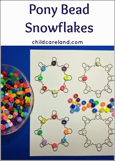 Pony Bead Snowflakes- pinned by @PediaStaff – Please Visit ht.ly/63sNtfor all our pediatric therapy pins