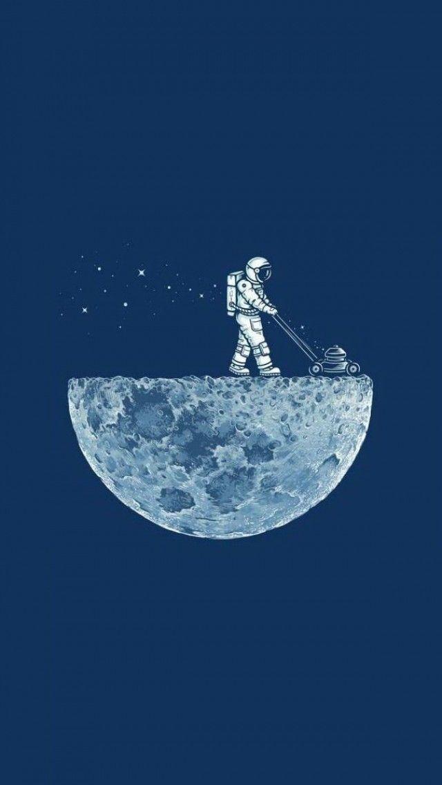 Astronaut & Half moon wallpaper for iPhone @mobile9