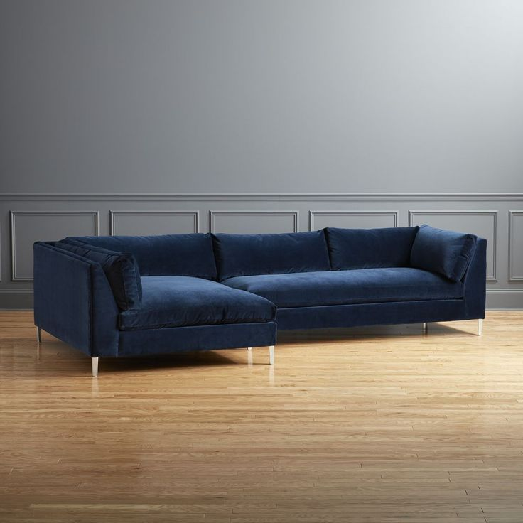 Cb2 November Catalog 2018 Decker 2 Piece Blue Velvet Sectional Sofa With Images Modern Sofa Sectional Velvet Sectional Sectional Sofa