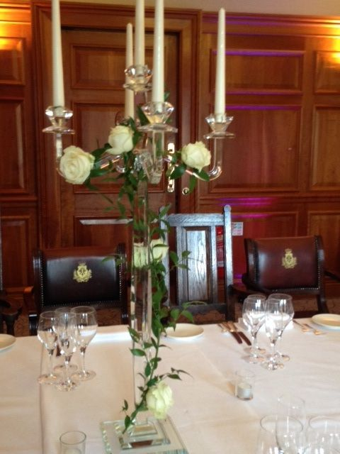 Crystal candelabra with ivory roses