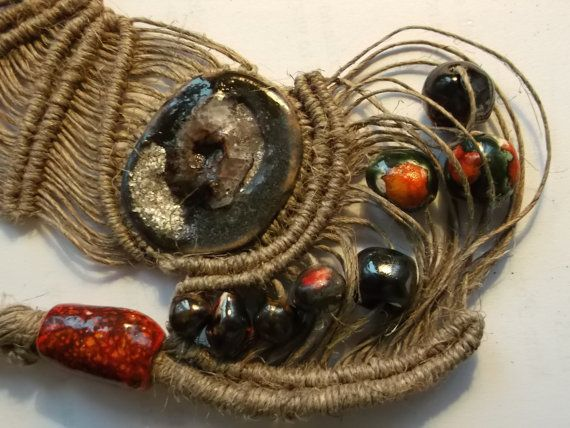 Handmade macrame and ceramic cabuchon  and ceramic by fripperyart