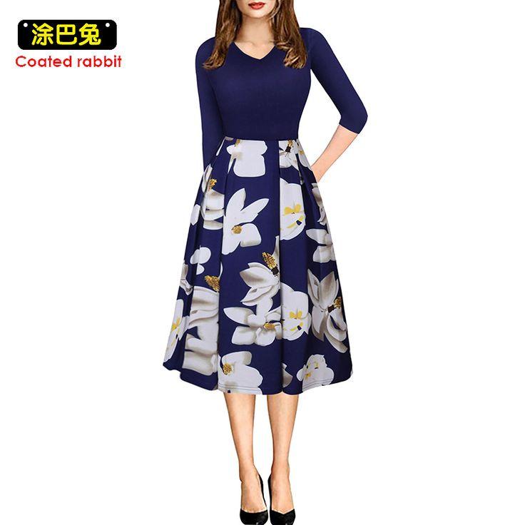 Vintage Autumn dress Printed 60s Hepburn Casual Dress V Neck Elegant women clothing party Vestidos dresses #Affiliate