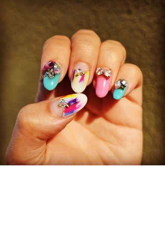 rhinestone-embellished fingertips