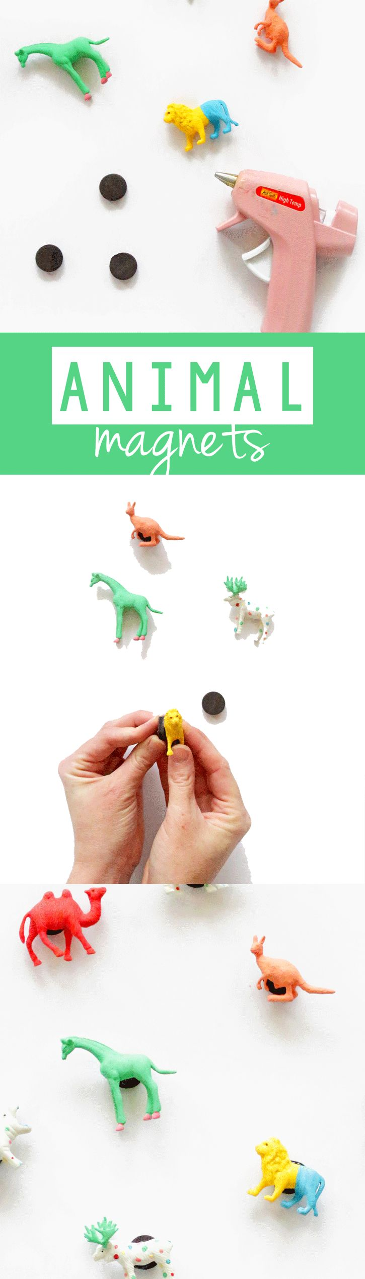 Add some whimsy to the fridge or a magnet board with DIY Animal Magnets! We are painting tiny toys and turning them into magnets!
