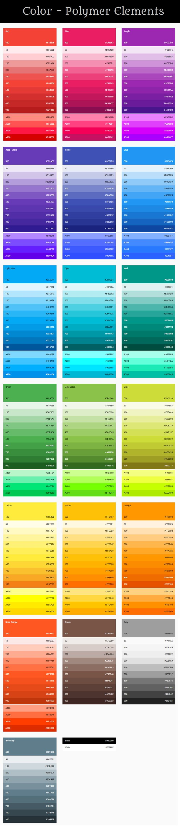 Color Polymer Elements Polymer Elements desing color UI CSS provides access to the main colors used in Website. You can sets: background, text color, outline, border color for any elements. Polymer Elements used to improve your website design . Color Combination | Color Patterns | Color Palette | Color Palette From Image | For Website. #all #Polymer #Elements #background #example #all #color #good #palette #color #palette #pattern #Shade-A-Web
