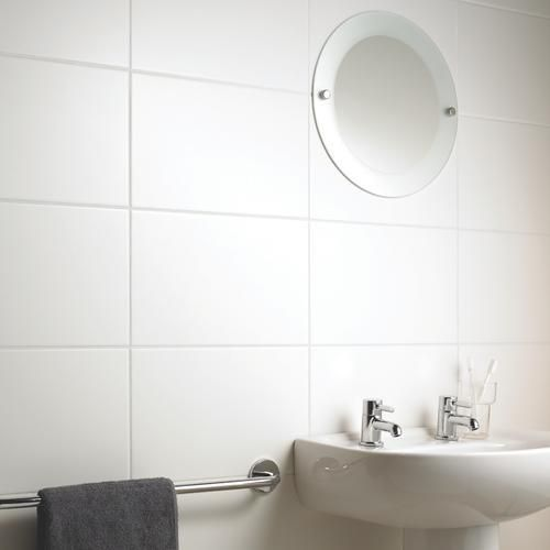 Large white satin ceramic tile for your ensuite and even for Large glass tiles for bathroom