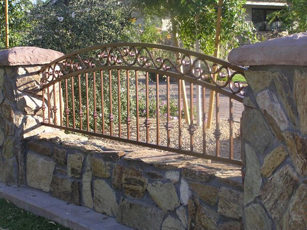 Decorative Wrought Iron Fencing: 3-rail arched decorative view fencing