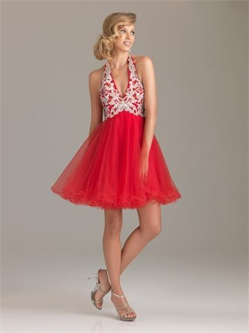 Pretty Halter V-neck with Beadings Short A-line Homecoming Dress HD1080  http://www.homecomingstore.com/