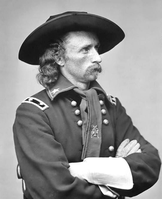 George Armstrong Custer in the uniform of a Cavalry Officer of the US Army.  Commanded the 7th Cavalry at Little Big Horn.