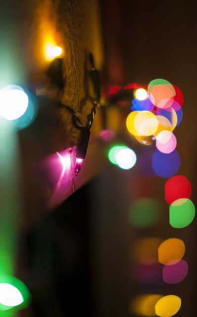Christmas lights. Every time I try to take a picture of lights to make it look cool like this, it turns out like doo-doo