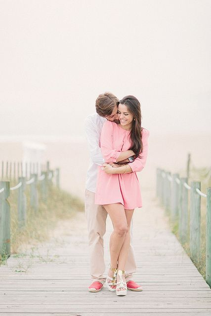 Make the best of your cloudy day! Diffused light everywhere creates a soft, romantic feel. Notice her pose too, playful but feminine, snuggling in closer for a very sweet embrace.