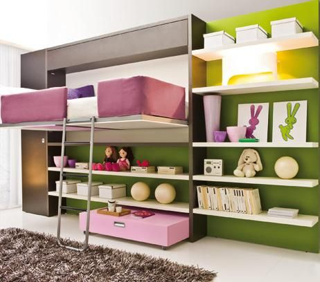 Bed Room, Cute And Also Creative Design Ideas Of Loft Bed With Couch With The Green Luxurious Styles Paint Wall And The Good Design With Black Rug And The Book Shelves And The White Ceiling And Comfortable Bed ~ Great Pictures Of The Loft Bed With Couch