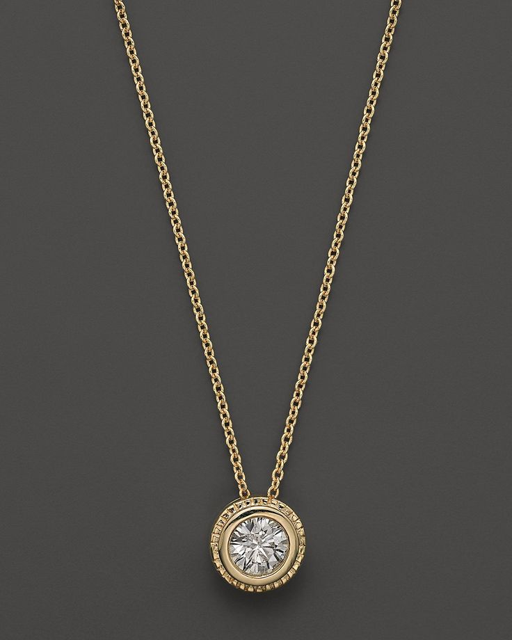 Bezel Set Diamond Solitaire Pendant Necklace In 14k Yellow