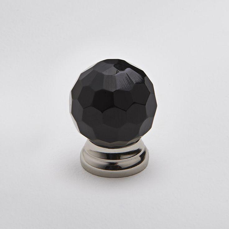 Hepburn Hardware | Faceted Glass Knob - Black