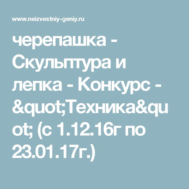 """черепашка - Скульптура и лепка - Конкурс - """"Техника""""  (с 1.12.16г по 23.01.17г.)"""