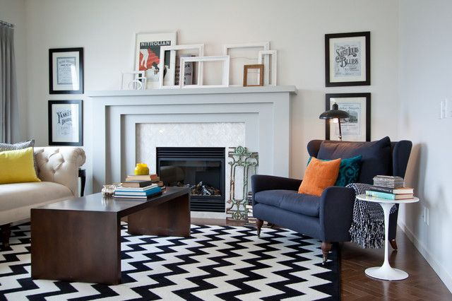 ideas for furniture using black and white rug