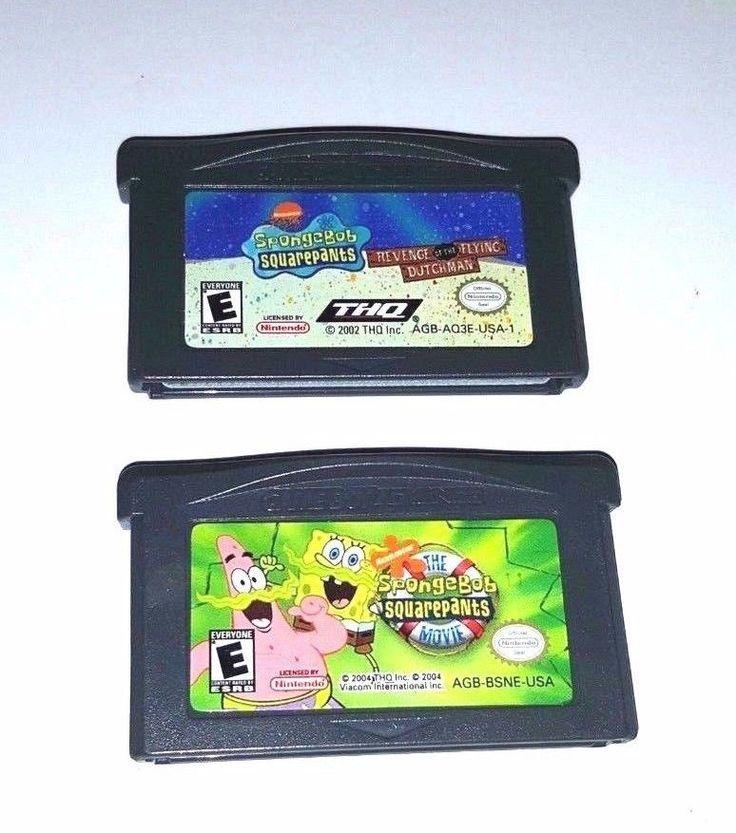 2 Gameboy Advance Games SPONGEBOB REVENGE of the FLYING DUTCHMAN & THE MOVIE Lot
