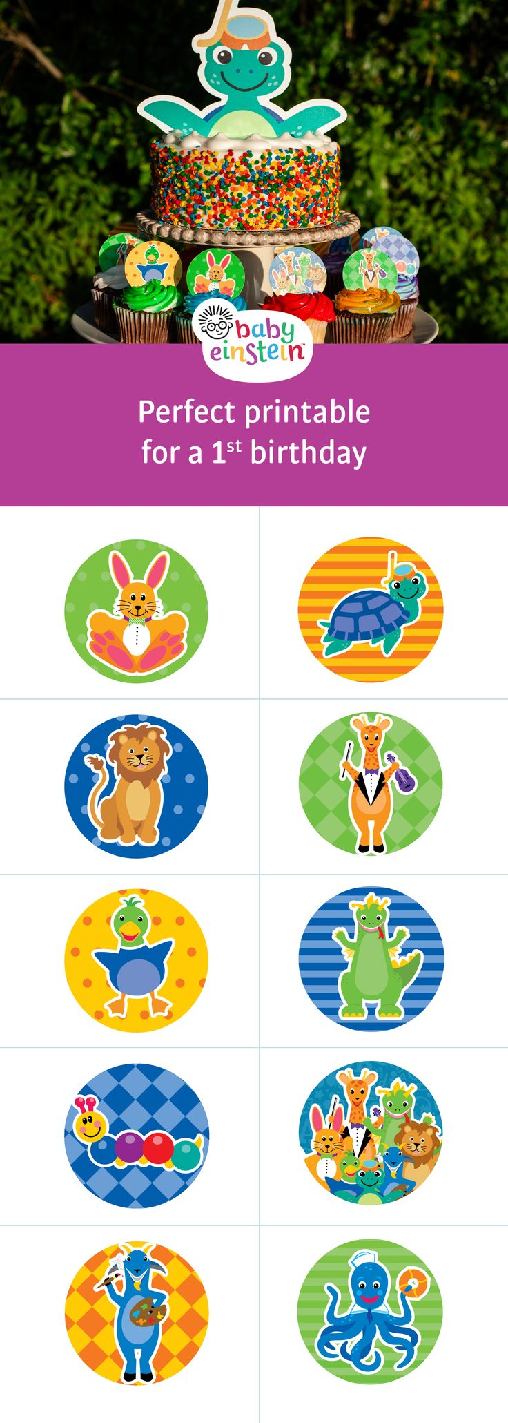 Adorable Baby Einstein cupcake toppers for your little one's birthday party. Get printables now!