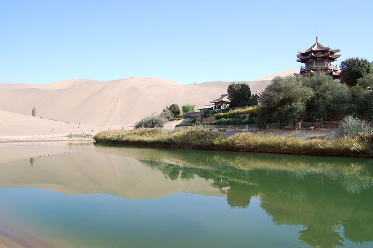 Mingsha sand dunes, Half Crescent Lake, Dunhuang, China