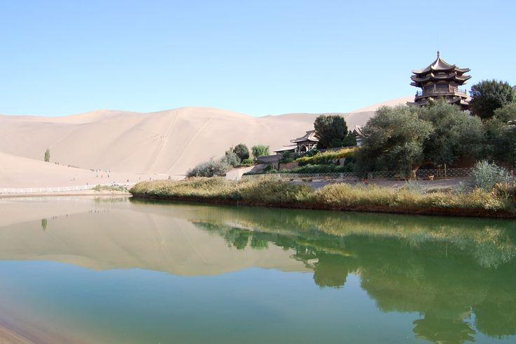 Mingsha sand dunes, Half Crescent Lake, Dunhuang, China