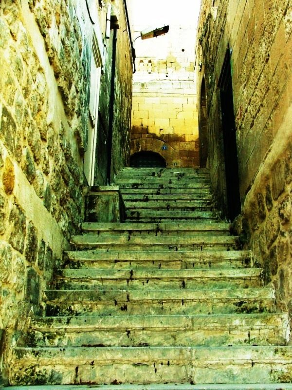 The narrow streets and stairs of Mardin, Turkey.