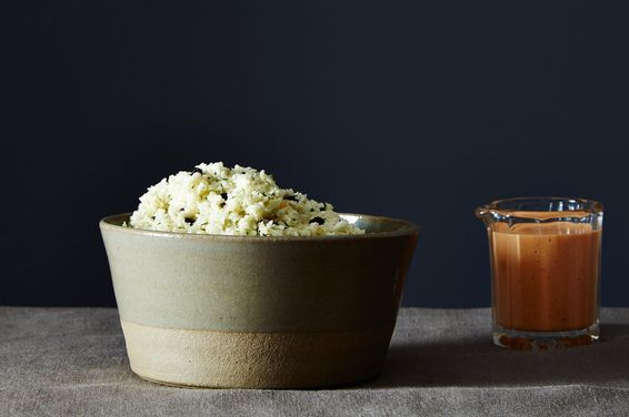 Mediterranean Cauliflower Rice with Smoky Red Pepper Sauce, a recipe on Food52